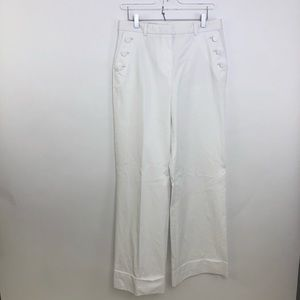 Brooks Brothers White Wide Leg Trousers 10 x 32